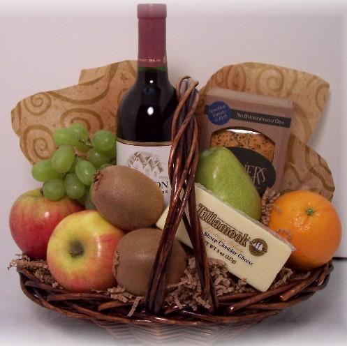 Fruit and Wine gift basket