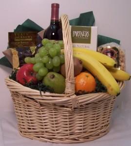 Large Fruit and Wine gift basket